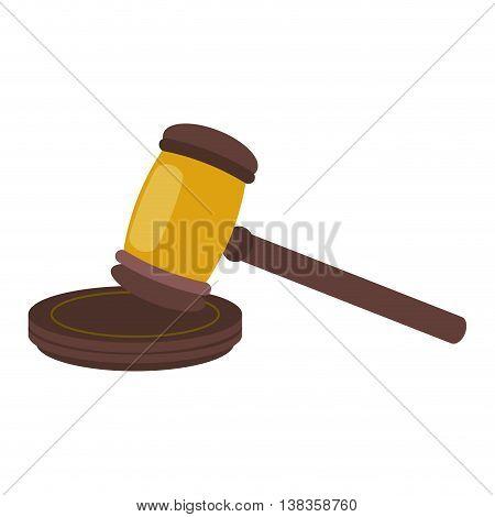 flat design judge gavel icon vector illustration