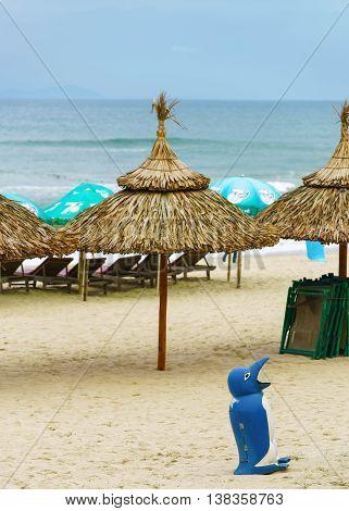 Palm Shelters At China Beach In Da Nang