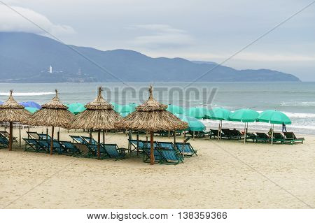 Shelters And Sunbeds On China Beach In Da Nang