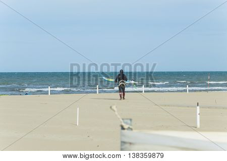 Cervia Italy 30th April 2016: Professionist engages in kite surfing in the Adriatic Sea