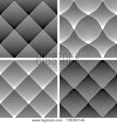Seamless reticulate patterns set. Vector art.