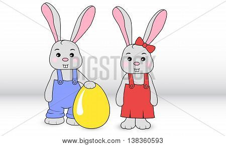 Rabbits Boy And Girl