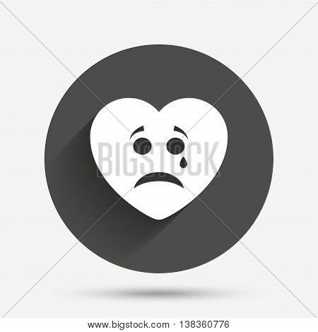 Sad heart face with tear sign icon. Crying chat symbol. Circle flat button with shadow. Vector