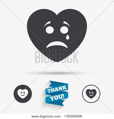Sad heart face with tear sign icon. Crying chat symbol. Flat icons. Buttons with icons. Thank you ribbon. Vector
