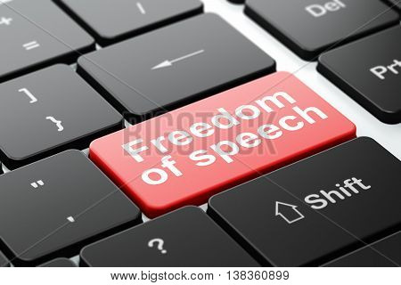 Politics concept: computer keyboard with word Freedom Of Speech, selected focus on enter button background, 3D rendering