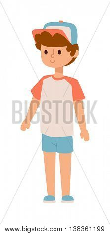 Boy stands vector illustration.