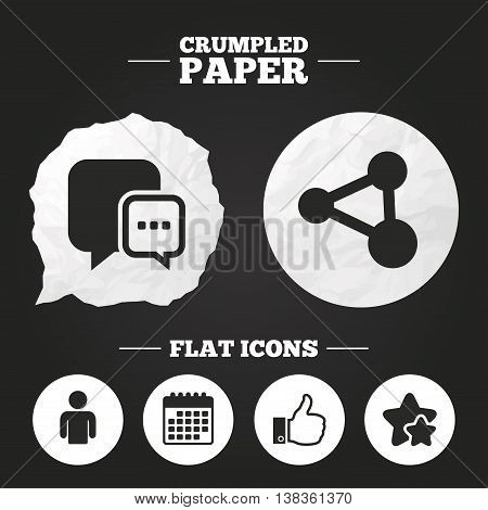 Crumpled paper speech bubble. Social media icons. Chat speech bubble and Share link symbols. Like thumb up finger sign. Human person profile. Paper button. Vector