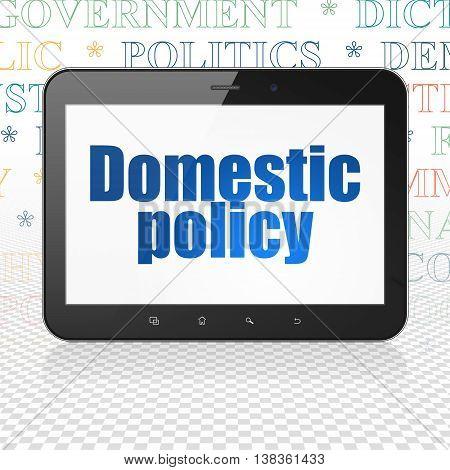 Political concept: Tablet Computer with  blue text Domestic Policy on display,  Tag Cloud background, 3D rendering