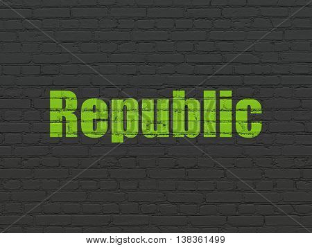 Politics concept: Painted green text Republic on Black Brick wall background