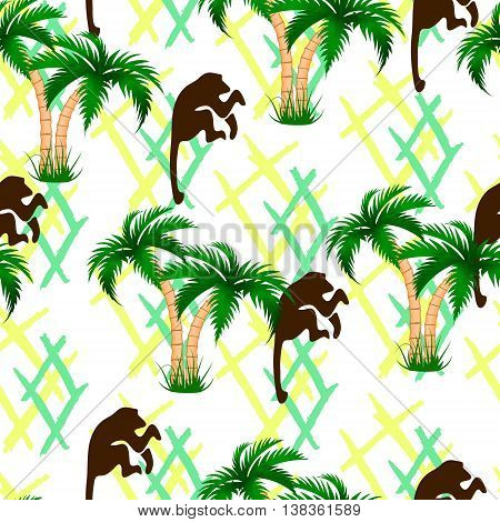 Palm trees monkeys. Seamless illustration Endless background Rhombus