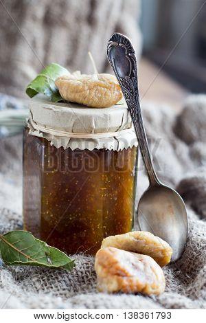 Tasty homemade fig jam in glas jar