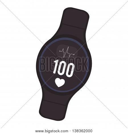 flat design heartrate wrist monitor icon vector illustration