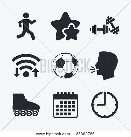 Football ball, Roller skates, Running icons. Fitness sport symbols. Gym workout equipment. Wifi internet, favorite stars, calendar and clock. Talking head. Vector