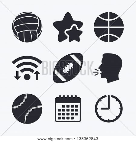 Sport balls icons. Volleyball, Basketball, Baseball and American football signs. Team sport games. Wifi internet, favorite stars, calendar and clock. Talking head. Vector