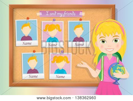 Yearbook about schoolgirl and cork board vector