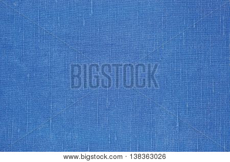 Natural Bright Blue Flax Fiber Linen Texture, Detailed Macro Closeup, Rustic Crumpled Vintage Textured Fabric Burlap Canvas Pattern, Horizontal Rough Background Copy Space