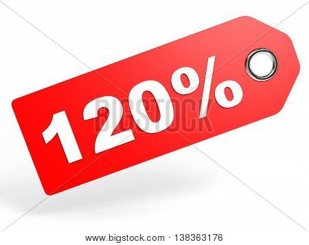 120 Percent Red Discount Tag On White Background.