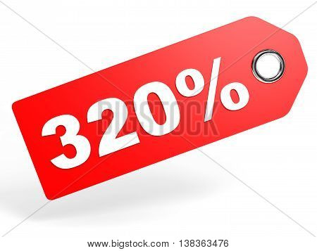320 Percent Red Discount Tag On White Background.