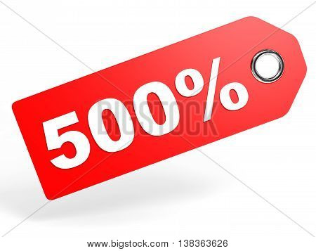 500 Percent Red Discount Tag On White Background.
