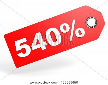 540 Percent Red Discount Tag On White Background.