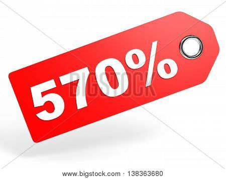 570 Percent Red Discount Tag On White Background.