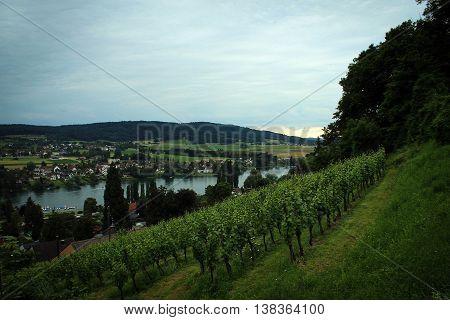 View on Rhein river near Stein-am-Rhein, Switzerland