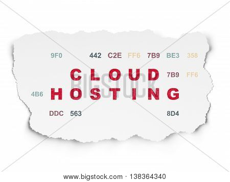 Cloud technology concept: Painted red text Cloud Hosting on Torn Paper background with  Hexadecimal Code