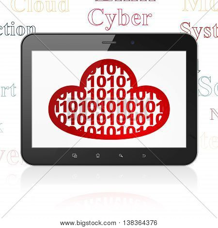 Cloud networking concept: Tablet Computer with  red Cloud With Code icon on display,  Tag Cloud background, 3D rendering
