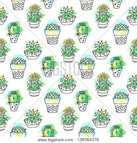 Seamless vector pattern with cactus. Colorful background with watercolor splashes and cacti. Succulent collection. House plant doodle iilustration. Mexican dessert plants.