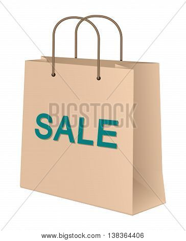 Craft Paper Shopping Bag. Vector Illustration Of A Craft Paper Shopping Bag With Sale Inscription On It Stating Discount Sale