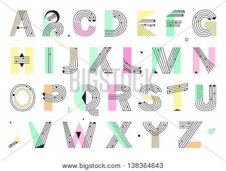 Creative geometric Alphabet. Postmodernist design typeface in Memphis style. Vector