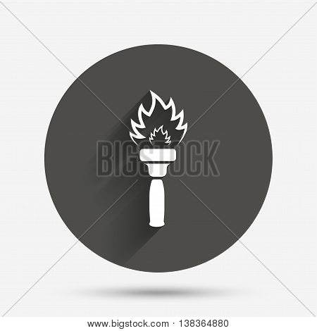Torch flame sign icon. Fire flaming symbol. Circle flat button with shadow. Vector