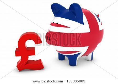 Uk Flag Piggy Bank With Pound Symbol 3D Illustration