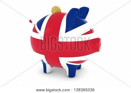 Uk Flag Piggy Bank With Gold Pound Coin 3D Illustration