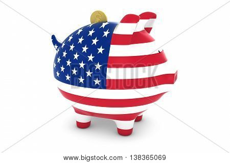 American Flag Piggy Bank With Gold Dollar Coin 3D Illustration