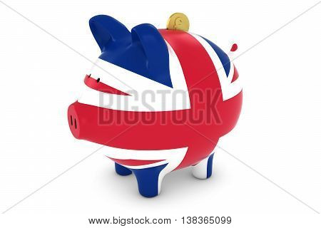 Uk Flag Piggy Bank With Gold Pound Coin 3D Illustration