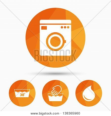 Hand wash icon. Machine washable at 30 degrees symbols. Laundry washhouse and water drop signs. Triangular low poly buttons with shadow. Vector