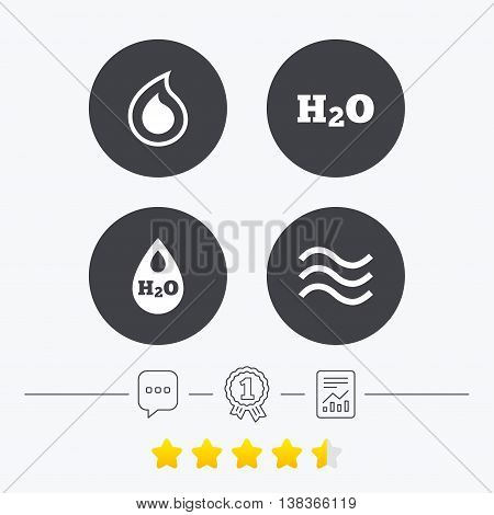 H2O Water drop icons. Tear or Oil drop symbols. Chat, award medal and report linear icons. Star vote ranking. Vector