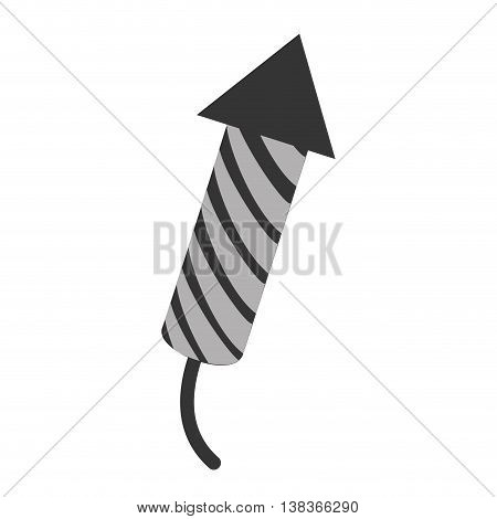 Rocket fireworks icon in black and white , vector illustration graphic design.