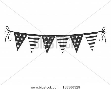 Decorative pennants icon in black and white , vector illustration graphic design.