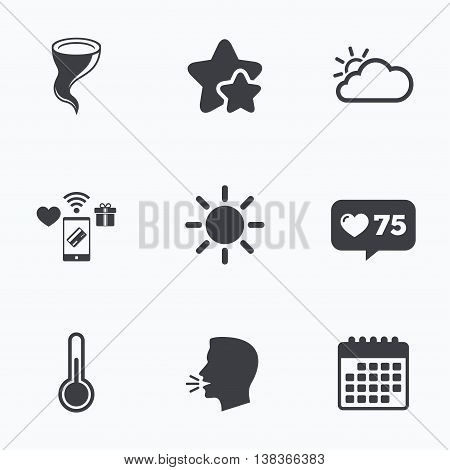 Weather icons. Cloud and sun signs. Storm symbol. Thermometer temperature sign. Flat talking head, calendar icons. Stars, like counter icons. Vector