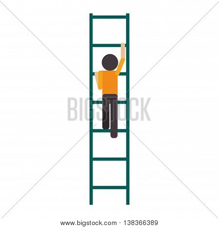 flat design man climbing ladder icon vector illustration
