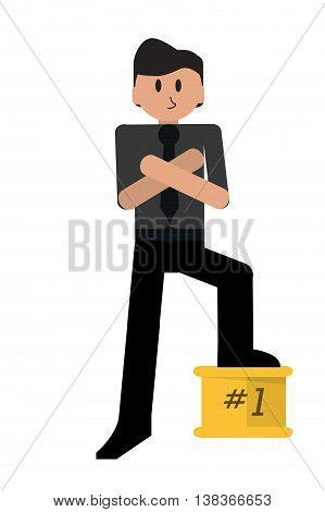 flat design first place businessman icon vector illustration
