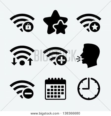 Wifi Wireless Network icons. Wi-fi zone add or remove symbols. Favorite star sign. Password protected Wi-fi. Wifi internet, favorite stars, calendar and clock. Talking head. Vector