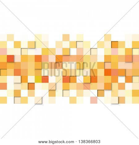 Abstract yellow and orange squares vector background with white copy space.
