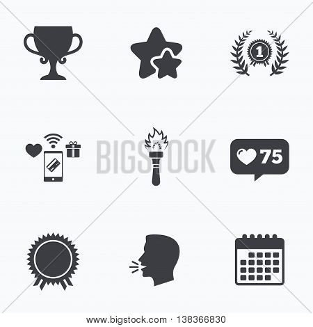 First place award cup icons. Laurel wreath sign. Torch fire flame symbol. Prize for winner. Flat talking head, calendar icons. Stars, like counter icons. Vector