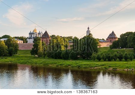 Summer architecture birds eye view landscape - Novgorod Kremlin and St Sophia cathedral at summer sunset in Veliky Novgorod Russia