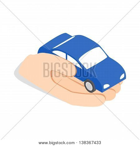 Hand holds machine icon in isometric 3d style isolated on white background. Transport symbol