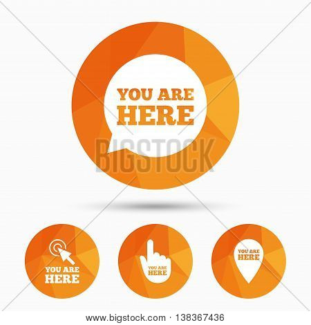 You are here icons. Info speech bubble symbol. Map pointer with your location sign. Hand cursor. Triangular low poly buttons with shadow. Vector
