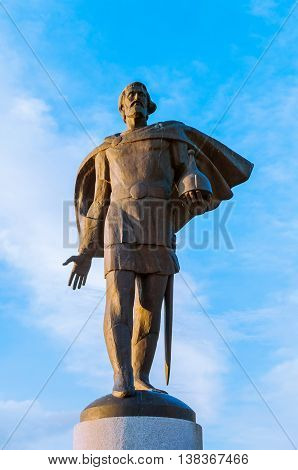 VELIKY NOVGOROD RUSSIA - JUNE 21 2016. Monument to prince Alexander Yaroslavich Nevsky closeup vertical view - sculpture landmark of Veliky Novgorod